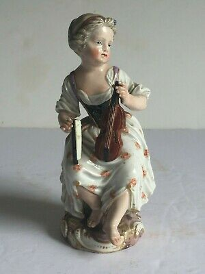 18thC Antique Meissen Porcelain Figure GIRL SEATED WITH VIOLIN Painted Marks