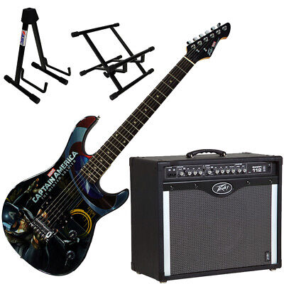 Peavey Bandit Amp and Marvel Captain America Guitar with Amp and Guitar Stands