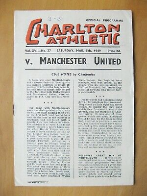 CHARLTON ATHLETIC v MANCHESTER UNITED 1948/1949 VG Condition Football Programme