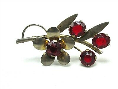 Vintage Sterling Silver Prong Set Faceted Red Glass Flower Brooch 11.6g MN6794