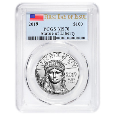 2019 $100 American Platinum Eagle PCGS MS70 FDOI Flag Label