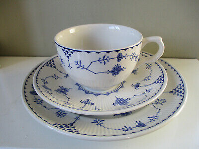 FURNIVALS CHINA TRIO Breakfast CUP SAUCER AND PLATE DENMARK BLUE WHITE.