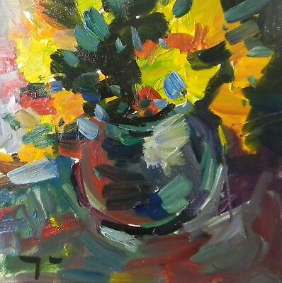 Jose Trujillo Oil Painting Still Life With Flowers Expressionist Fine Arts Coa