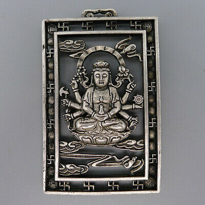 Necklace Pendant Jewelry Decor Hand Carved Guanyin Buddha Natural Ancient Silver
