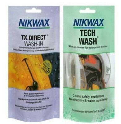 NIKWAX TECH WASH TX DIRECT POUCH TWIN PACK waterproofing  wet weather clothing
