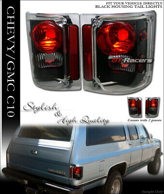 For 1973-1991 Chevy/GMC C10 C/K Truck Suv Black Sport Altezza Tail Lights Lamps