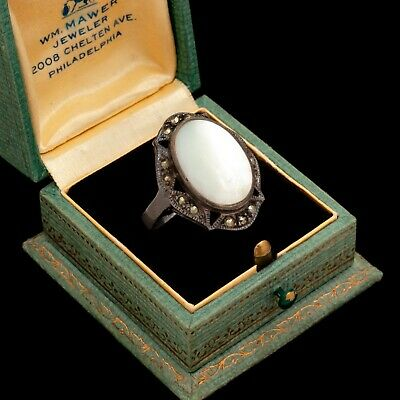 Antique Vintage Deco Style Sterling Silver Mother of Pearl Marcasite Ring Sz 10