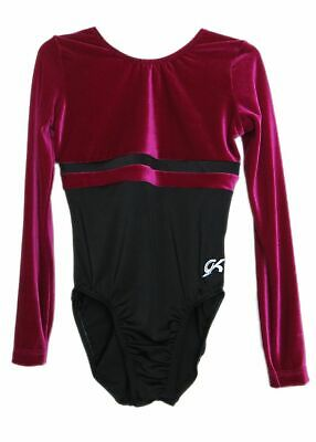GK Elite Berry Velvet/Black Gymnastics Leotard - AS Adult Small 3954