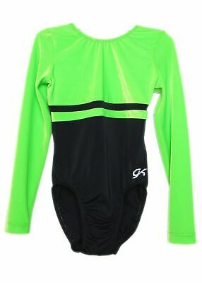 GK Elite Black/Neon Green Velvet Gymnastics Leotard - AS Adult Small 3925