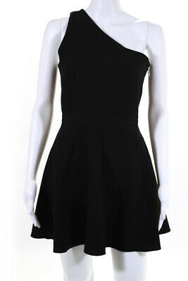 NBD X The Naven Twins Womens One Shoulder A Line Dress Black Size Small