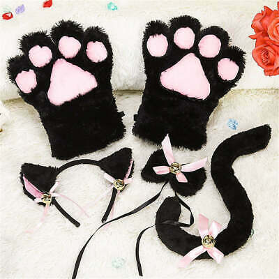 4PCS Maid Cosplay Cute Cat's Claw Gloves Bells Heads Hoops Plush Cat's Tail Tie