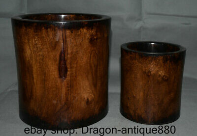 """8.8"""" Old Chinese Huanghuali Wood Dynasty Hand Carving Brush Pot Pencil Vase Set"""