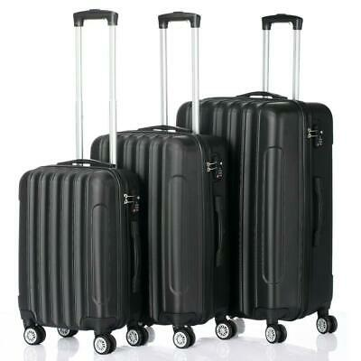 3 PCS Luggage Travel Set Bag ABS Trolley Hard Shell Suitcase w/TSA lock Black