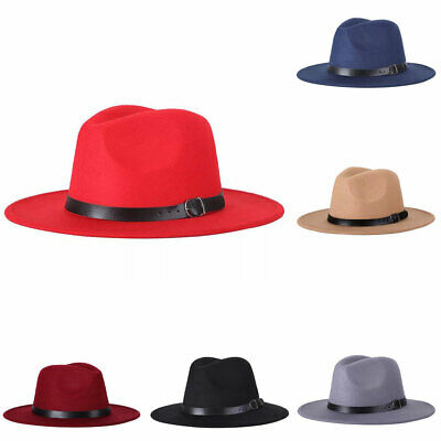 aa0a25b33 WIDE BRIMMED STYLISH Classic Vintage Unisex Wool Fedora Hat for ...