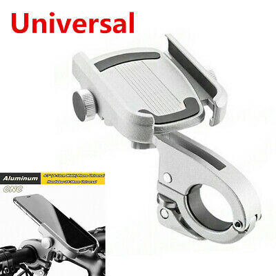 "Silver CNC Aluminum Alloy Electric Bike Motorcycle Handlebar 4-7"" Phone Holder"