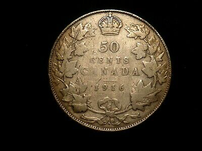 RARE! 1916 CANADA 50 CENTS Key Date ONLY 459 000 MINTED!!!