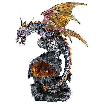 """Purple and Orange Dragon Figurine Statue LED Light Faux Crystals 11"""" High New!"""
