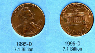 1995 D ABE Lincoln Memorial AMERICAN PENNY 1 CENT US U.S AMERICA ONE COIN #B1