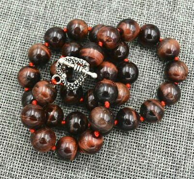 """New 12mm Round Red Tiger's Eye beads necklace 18"""" Tibetan silver love clasps AAA"""