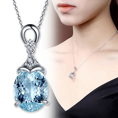 Women Vintage Gemstone Aquamarine Silver Chain Pendant Necklace Jewelry Gift