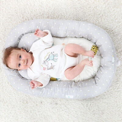 Baby Bassinet Bed Portable Lounger Newborn Crib Breathable Sleep Bed With Pillow