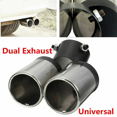 Bent Stainless Steel Car Exhaust Dual Pipe Chrome Muffler Tip Tail Pipes Cover