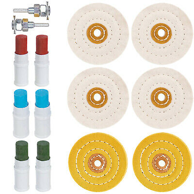 Metal Cleaning Polishing Buffing Wheel & Compound Kit for Drill 14 Piece Set