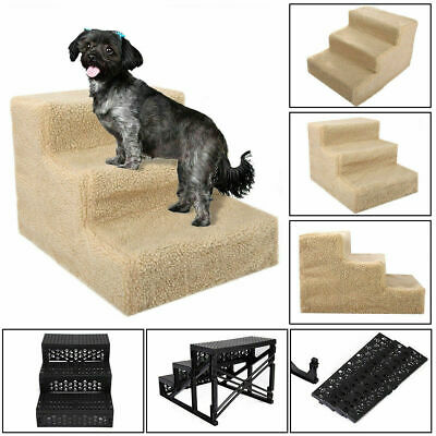 Pet Stair Puppy Animal Dog Cat Ladder 3 Steps with Removable Cover Indoor Yellow
