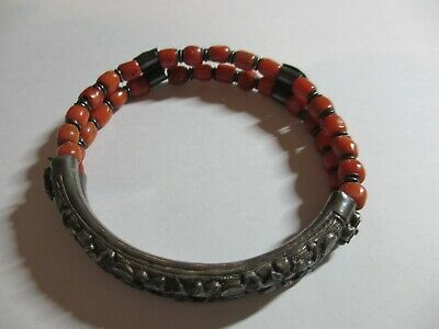 Rare Xfine Antique Chinese Sterling Red Coral Bead Bangle Bracelet-Hallmarked-Nr