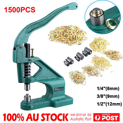 1500 Grommets Eyelet Hole Punch Grommet Machine Hand Press Tool 3 Dies 6/10/12mm