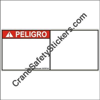 Custom Spanish Safety Decals ANSI Z535 PELIGRO add your own text or graphic