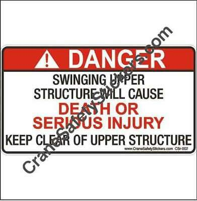 Crane Swing Radius Protection Safety Decal Swinging Upper Structure