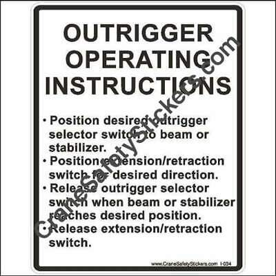 Crane Safety Stickers Outrigger Operating Instructions