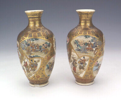 Antique Pair Of Satsuma Pottery - Oriental Figure Decorated Vases - Lovely!