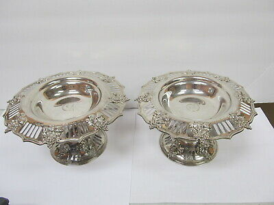 """Tiffany & Co Makers # 16579-5808 Sterling Silver 2 Fine Compotes 8"""" W Xlnt Cond"""