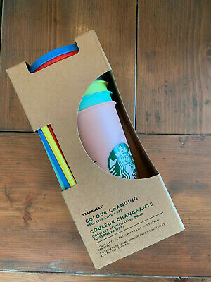 Starbucks Color-Changing Reusable Cold Cups Venti 24 oz Set of 5