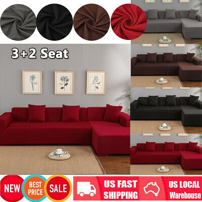 Peachy L Shape 3 2 Seat Stretch Elastic Fabric Sofa Cover Sectional Theyellowbook Wood Chair Design Ideas Theyellowbookinfo