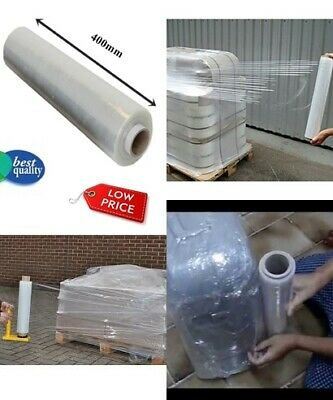 1x 400mm CLEAR PALLET STRETCH SHRINK WRAP CAST PARCEL PACKING CLING FILM *PW