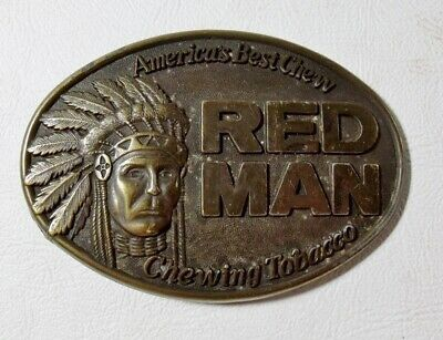 Vintage 1988 RED MAN CHEWING TOBACCO Belt Buckle