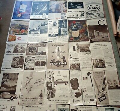 VINTAGE 1954 & 1960s ADS: DECOUPAGE: CARS WHISKY PERFUME CIGARETTES BEER ETC