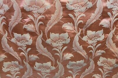 Vintage Damask Jacquard Curtain Drapery Upholstery Fabric Pink Floral