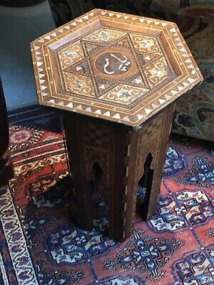 Small,Hexagonal Antique Inlaid Islamic Cafe Table