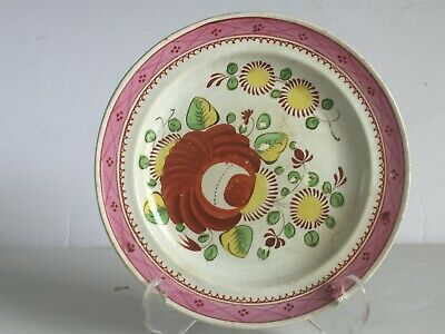 Antique Gaudy Dutch KINGS ROSE Plate Pink Border Soft Paste Pearlware 6.25""