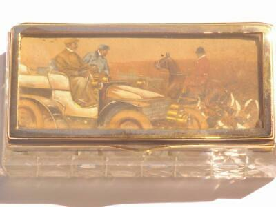 Exceptional Fine Antique Silver Pl Desk Stamp Box Hunting Painting Miniature Lid