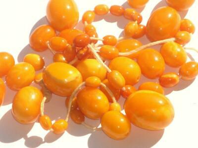 SUPERB ANTIQUE ART DECO GENUINE EGG YOLK AMBER LARGE BEAD BEADS NECKLACE 50g