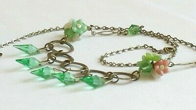 Czech Vintage Art Deco Glass Flower Bead And Green Crystal Necklace