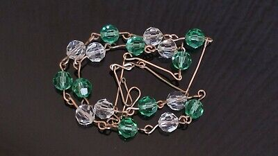 Czech Vintage Art Deco Clear/Green Faceted Glass Bead Necklace Rolled Gold Wire