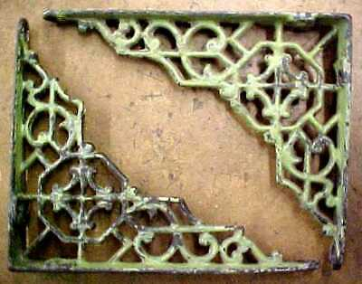 "2 Small Ornate Antique Cast Iron Shelf Brackets 4 1/8"" x 5""  Matching"