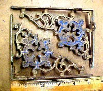 "2 Small Ornate Antique Cast Iron Shelf Brackets 3 3/4"" x 5""  Matching"