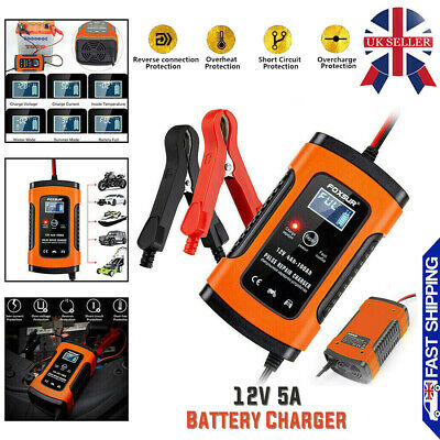 Car Motorcycle DC12V Pulse Repair Automatic Smart Battery Charger LCD Display UK